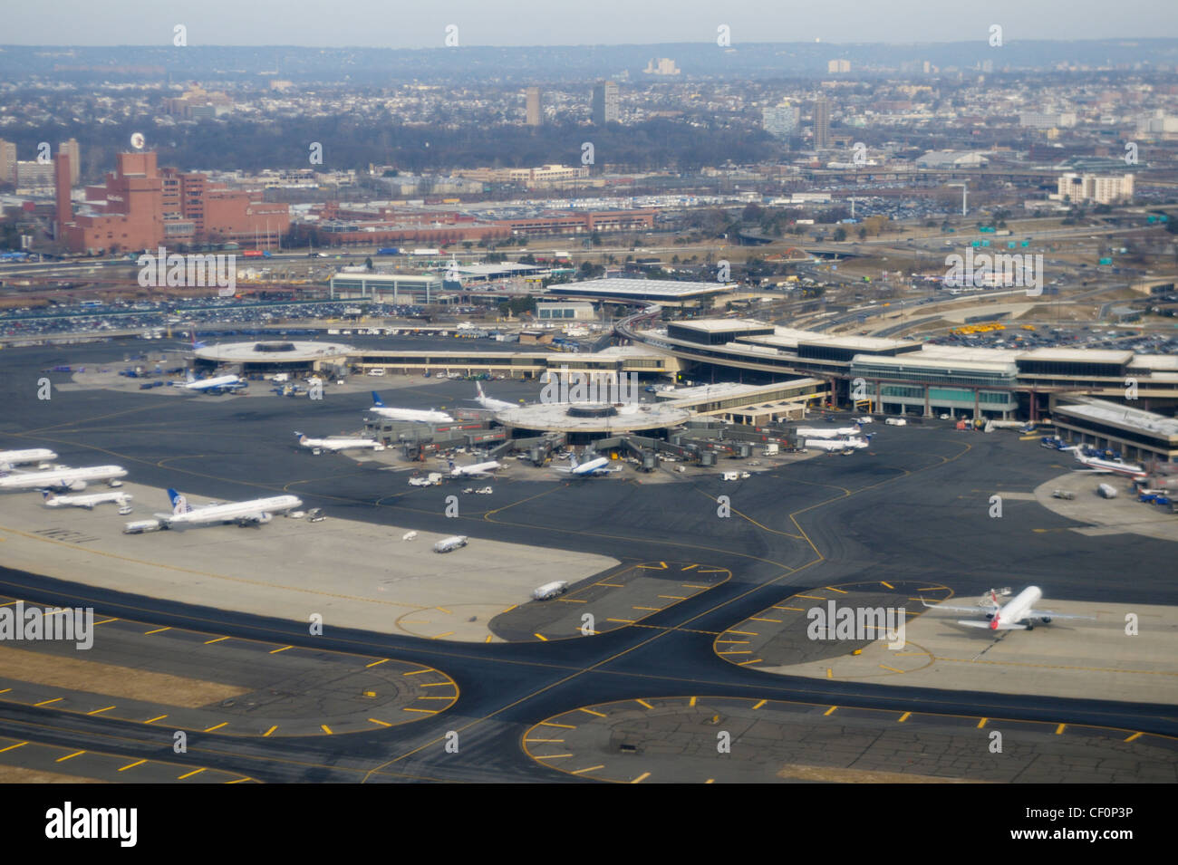 Newark Liberty International Airport - New Jersey -  from the air - Stock Image