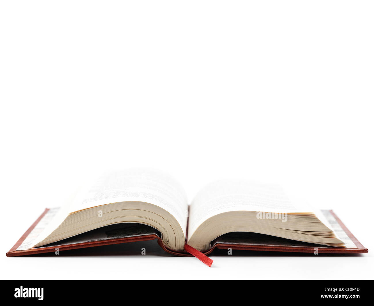 Open hardcover book isoalted on white background - Stock Image