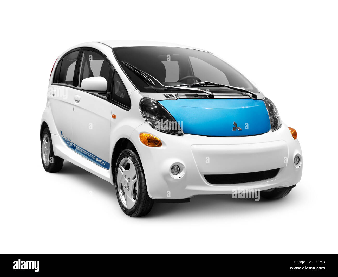 2012 Mitsubishi i MiEV electric car isolated on white background with clipping path Stock Photo