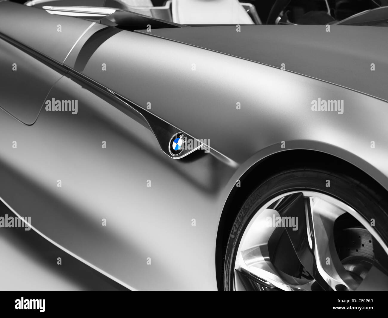Closeup of BMW Vision ConnectedDrive concept sports car shiny body detail - Stock Image