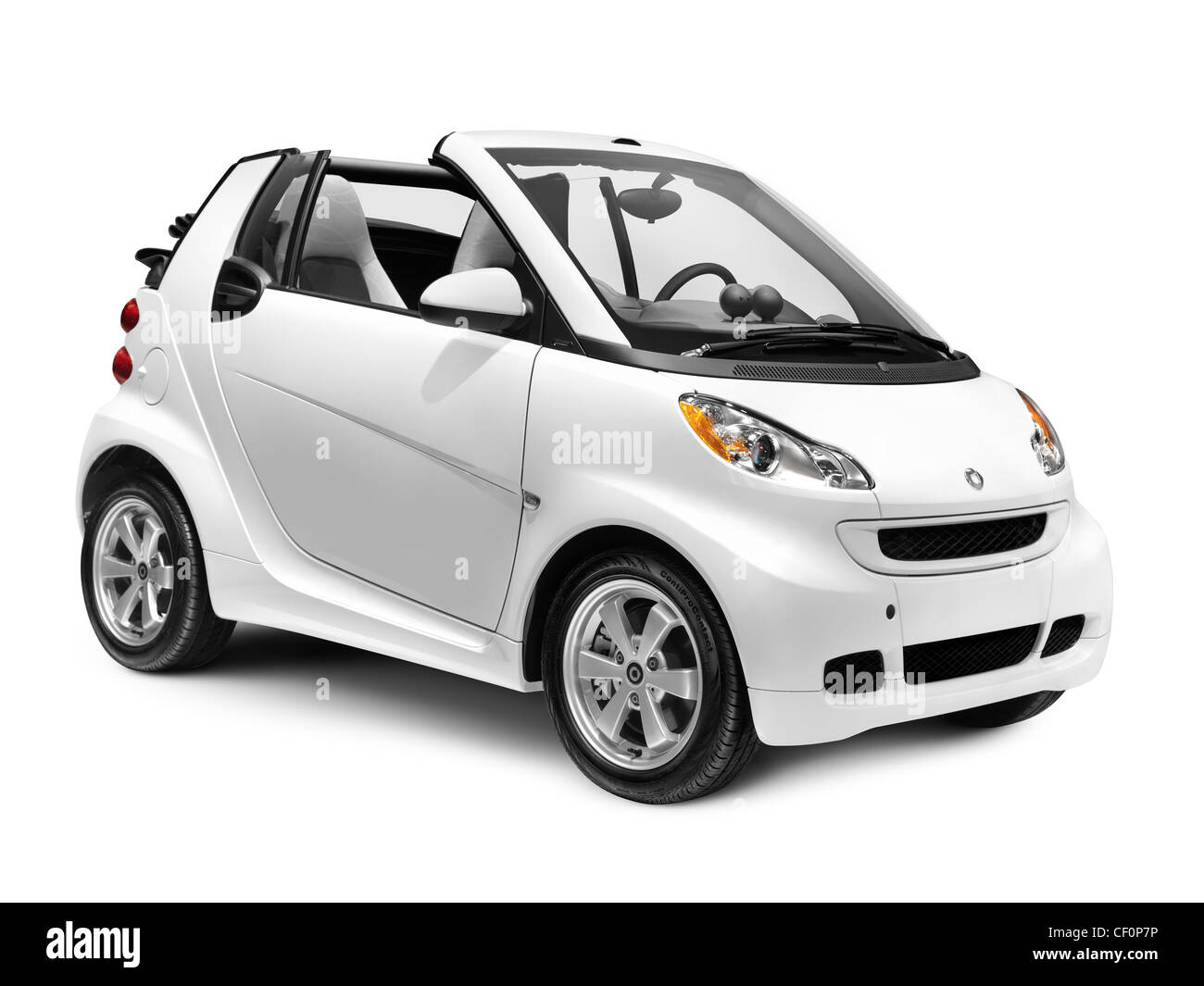 2012 Smart ForTwo Passion Cabriolet small convertible city car isolated on white background - Stock Image