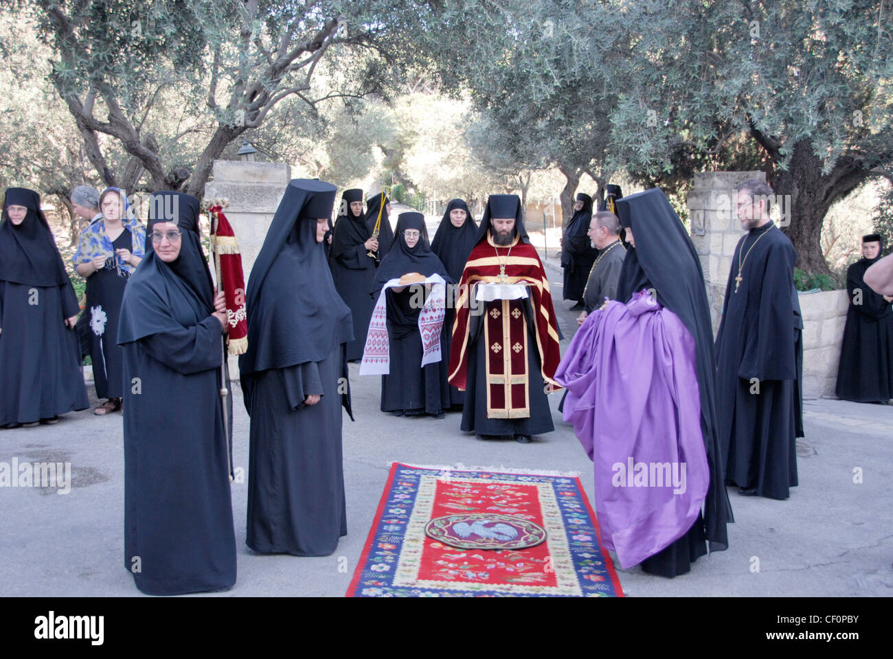 Waiting traditional greeting of the bishop in the russian monastery waiting traditional greeting of the bishop in the russian monastery of ascension on the mount of olives in jerusalem israel m4hsunfo