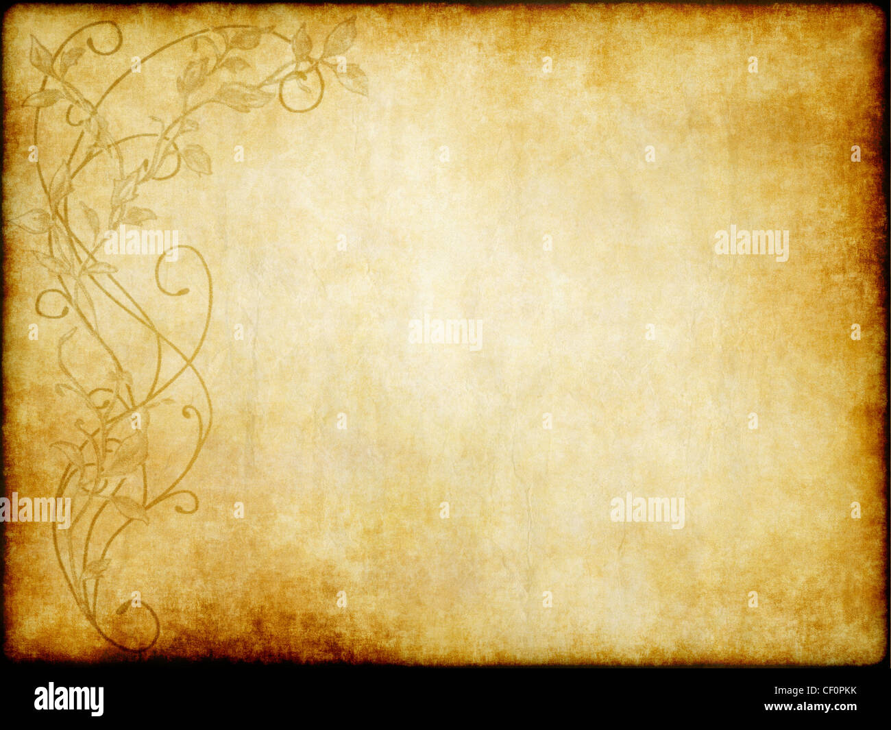 old vintage paper with floral design background texture - Stock Image
