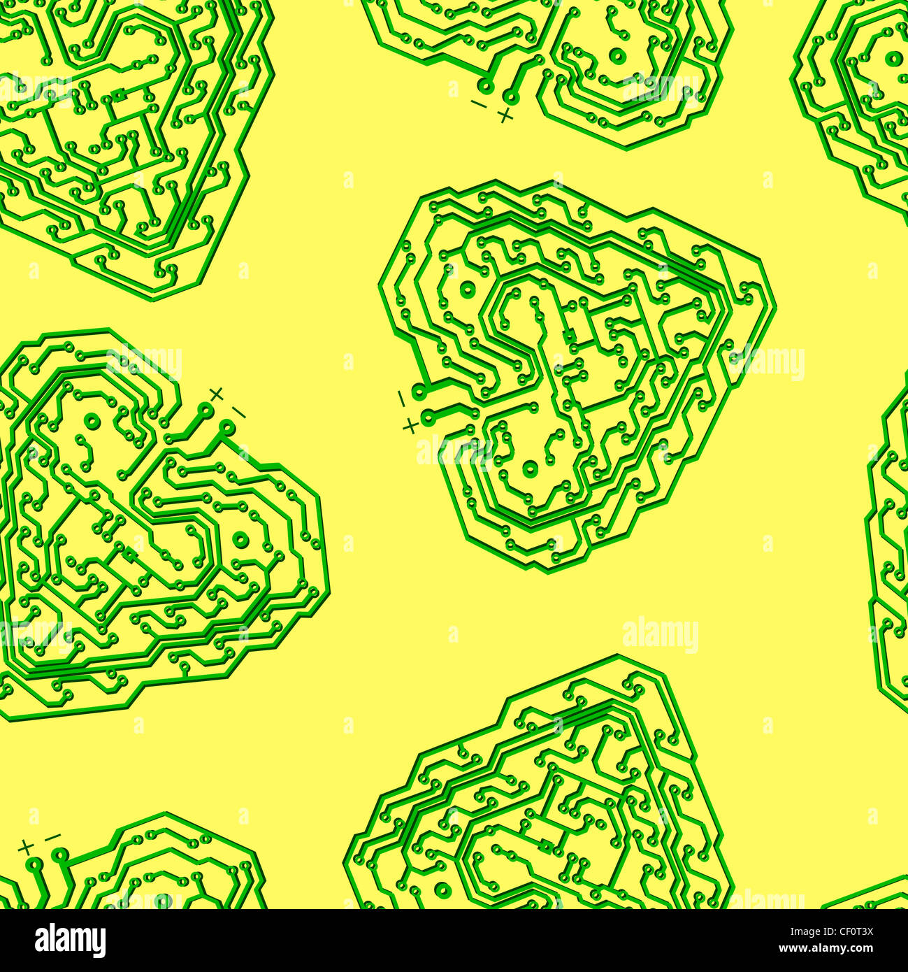 seamless wallpaper circuit board pattern in the shape of the heart