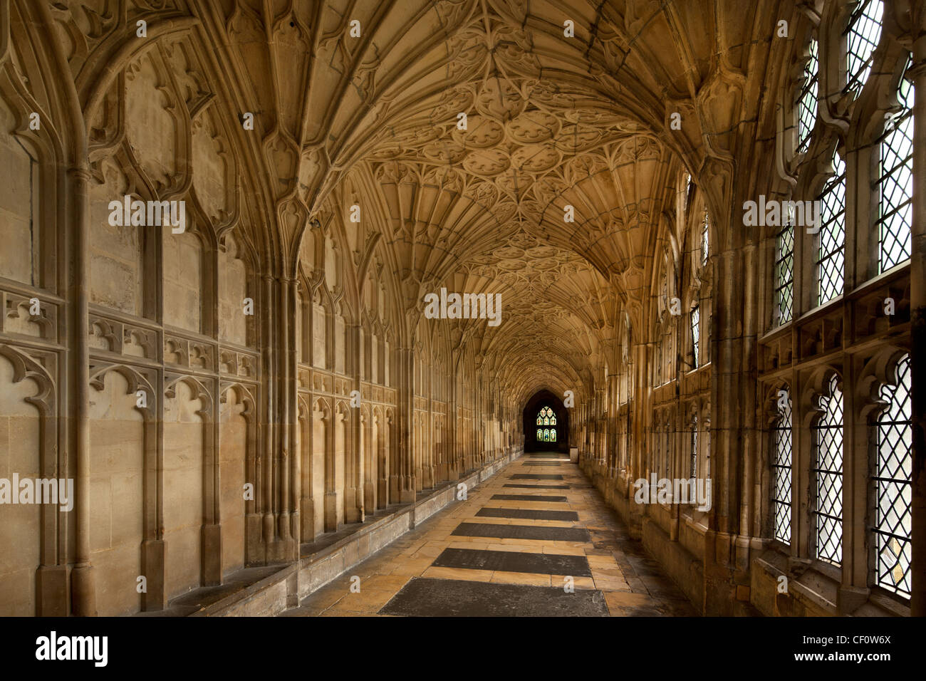 interior of cloisters at Gloucester cathedral where harry Potter films were made,Gloucestershire,england - Stock Image