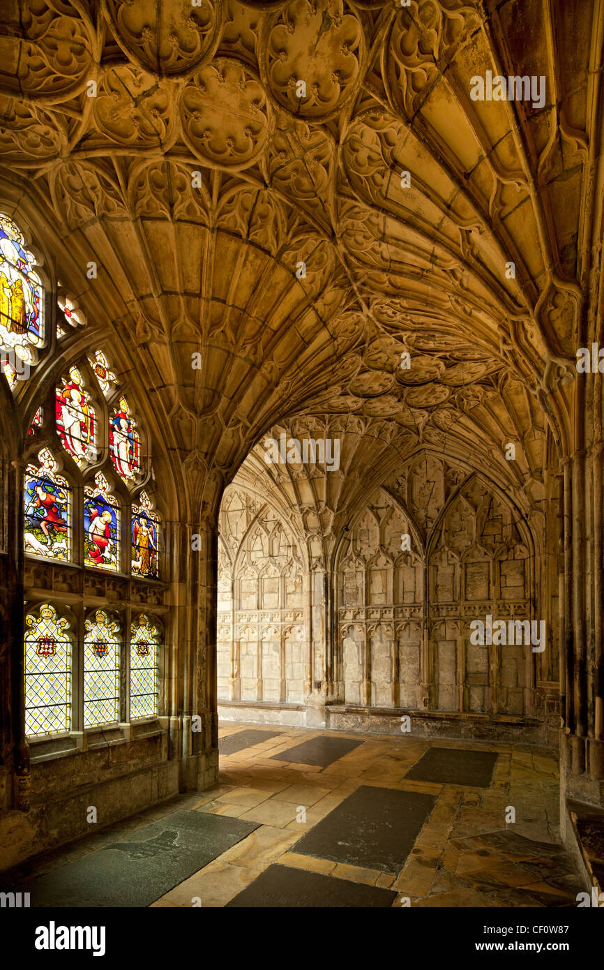 interior of cloisters at Gloucester cathedral where harry Potter films were made, Gloucestershire, England - Stock Image