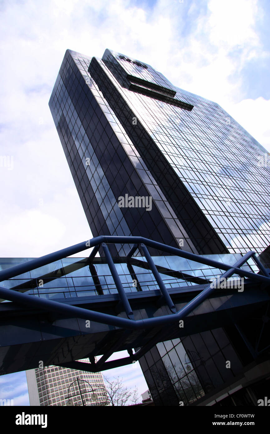 Hyatt hotel, Birmingham, with the bridge that links it over Broad Street to the International Convention Centre - Stock Image