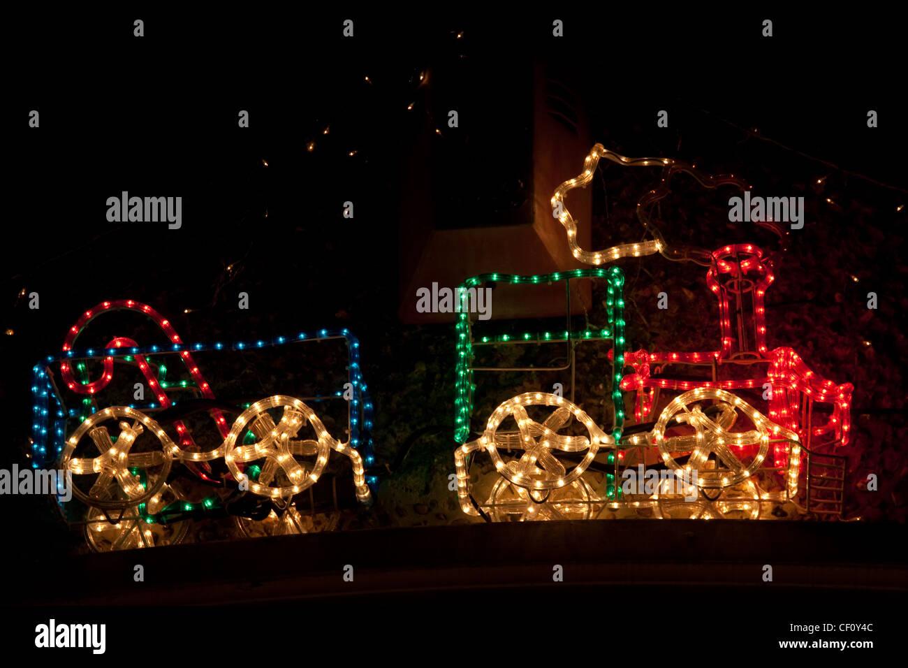 Illuminated steam train stock photos illuminated steam train stock outdoor christmas lights at night stock image aloadofball Image collections