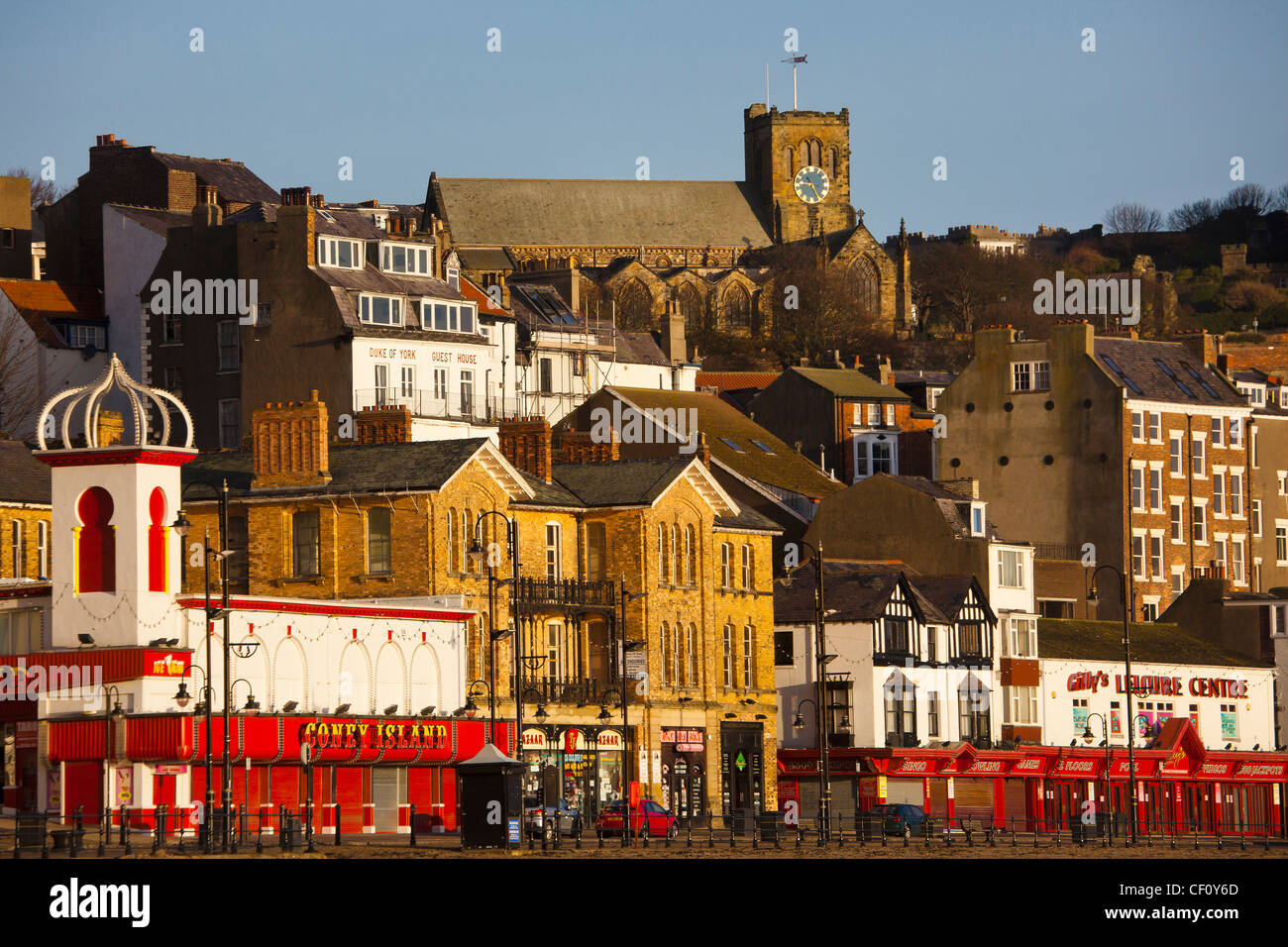 Scarborough Town and St Mary's Church from the South Bay in December - Stock Image