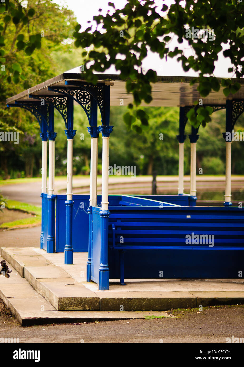 A covered seating area in a public park Stock Photo
