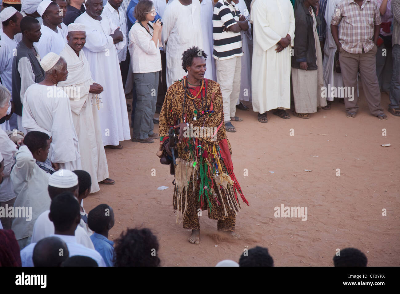 Sudan, Khartoum, Omdoman, Local man dressed in costume at Whirling Dervishes, ceremony from Mevlevi Order - Stock Image