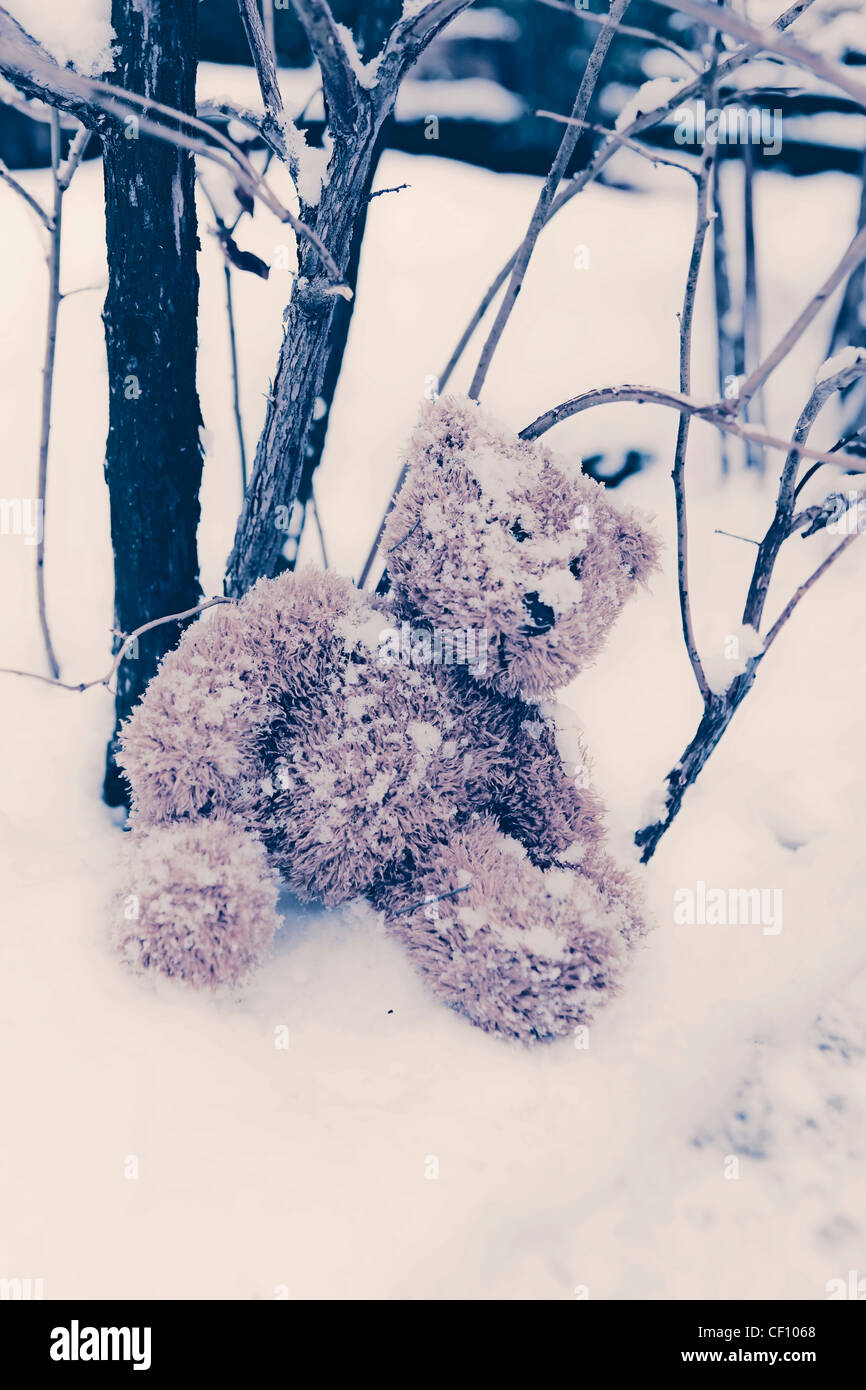 a forgotten teddy in the snow - Stock Image