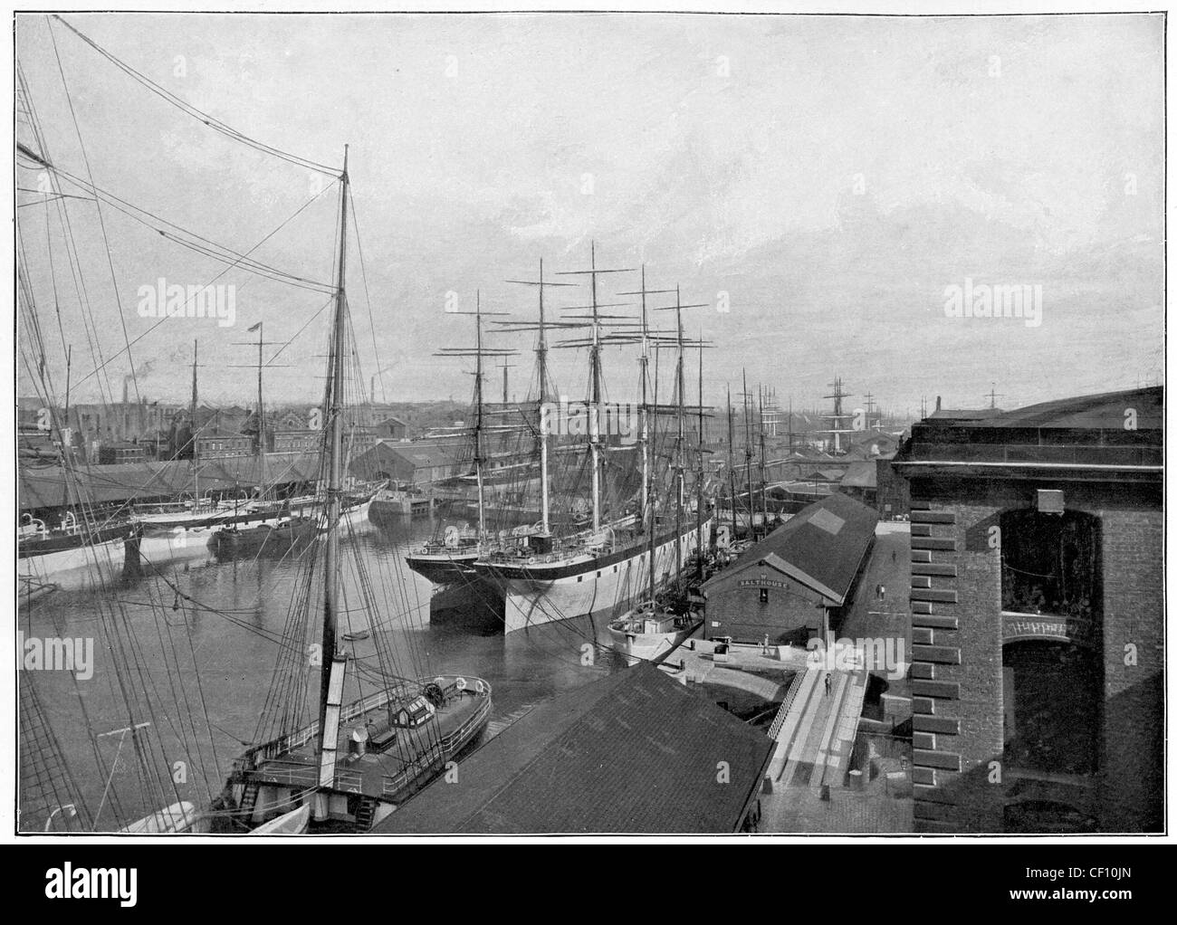 Liverpool docks at the end of the 19th Century - Stock Image
