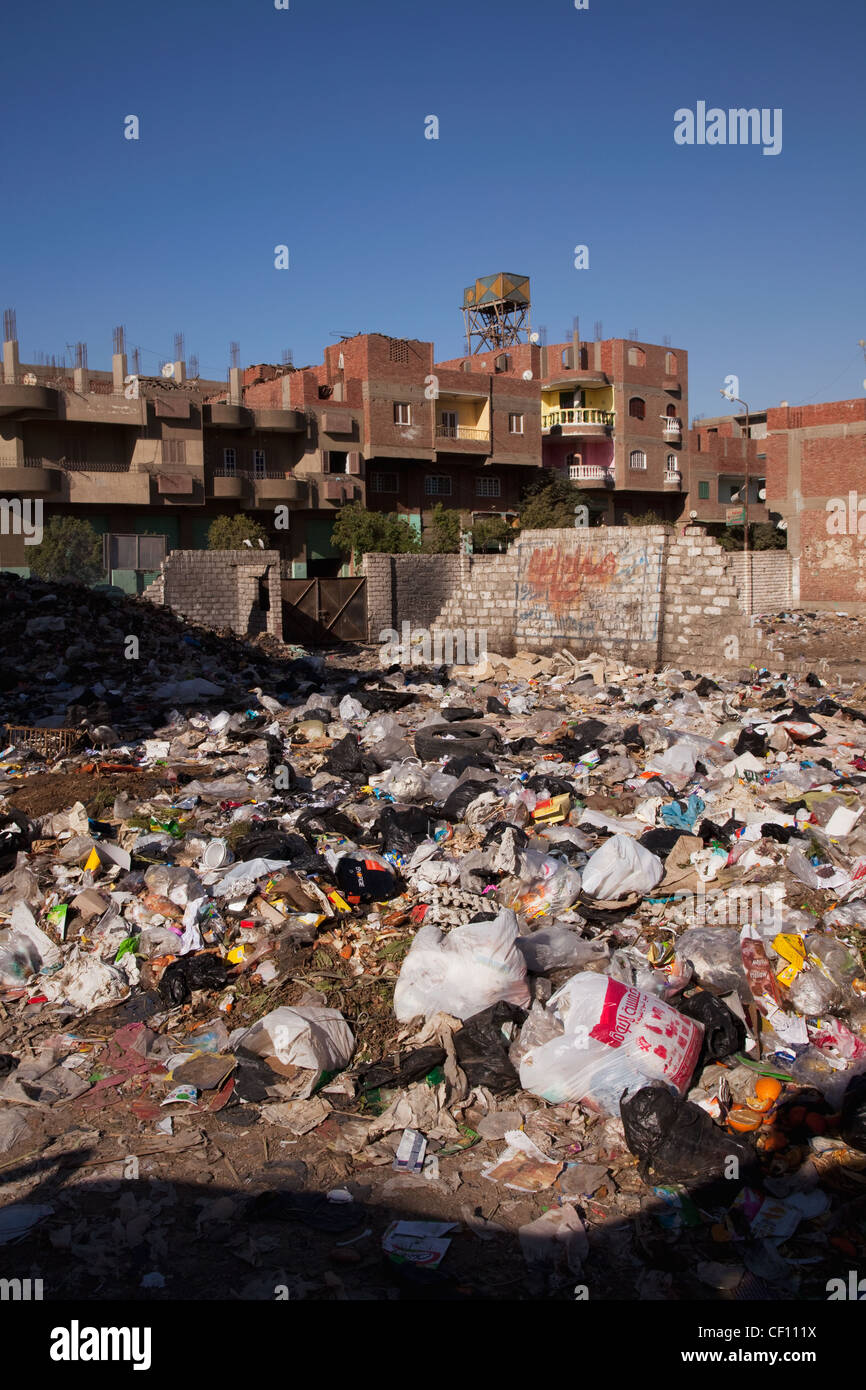 Egypt, Cairo, Ghetto street used for dumping rubbish - Stock Image