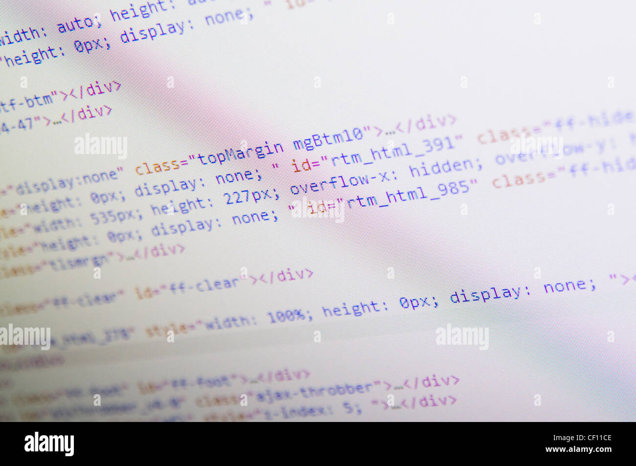 HTML code on a computer screen - Stock Image