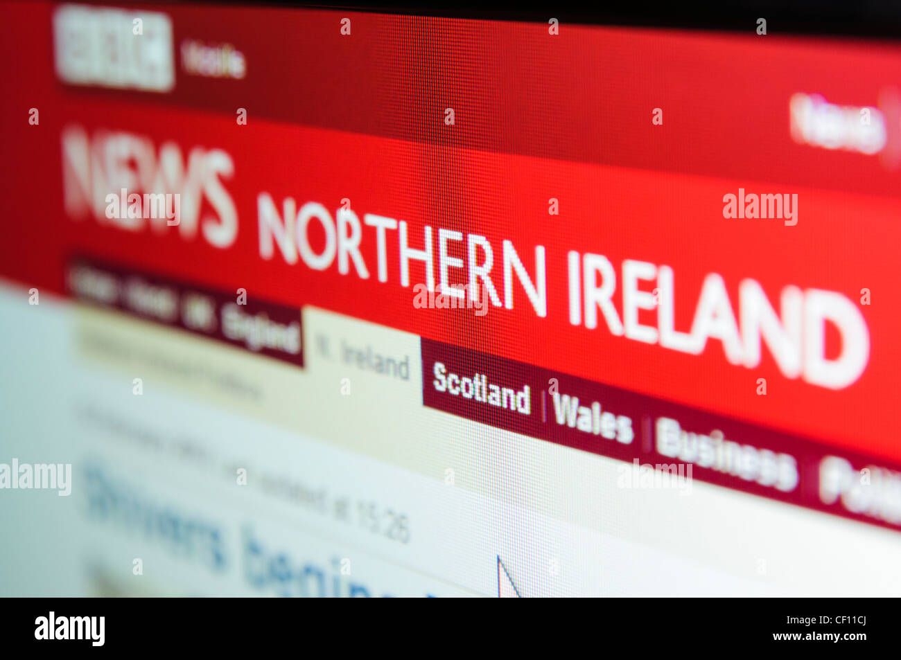 BBC Northern Ireland news page - Stock Image