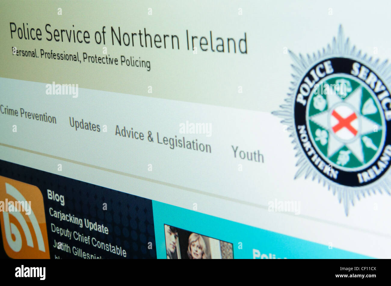 Police Service for Northern Ireland website - Stock Image