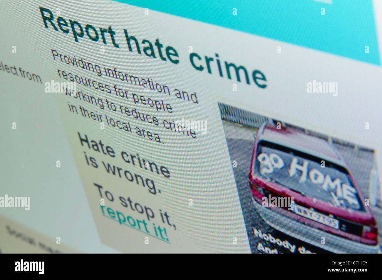 'Report Hate Crime' on the home page of the PSNI website - Stock Image