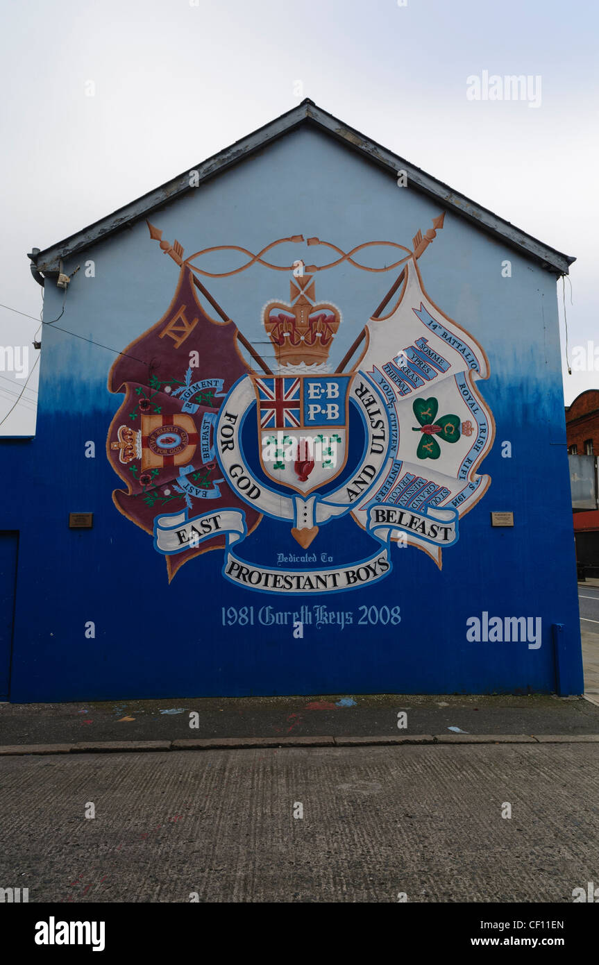 Mural for East Belfast Protestant Boys, the Ulster Volunteer Force and the Royal Irish Rifles - Stock Image