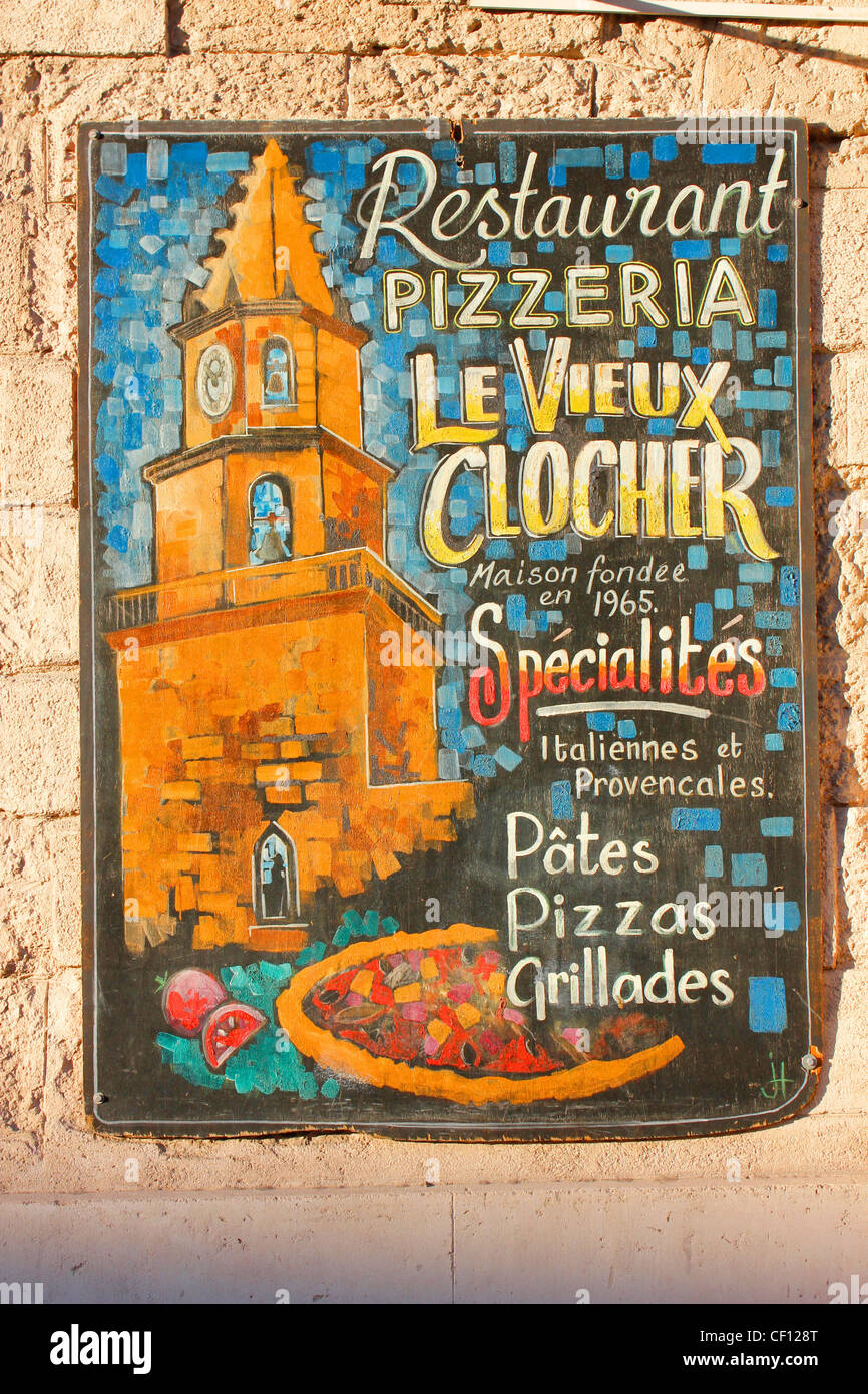 Restaurant sign in the French city of Marseille - Stock Image