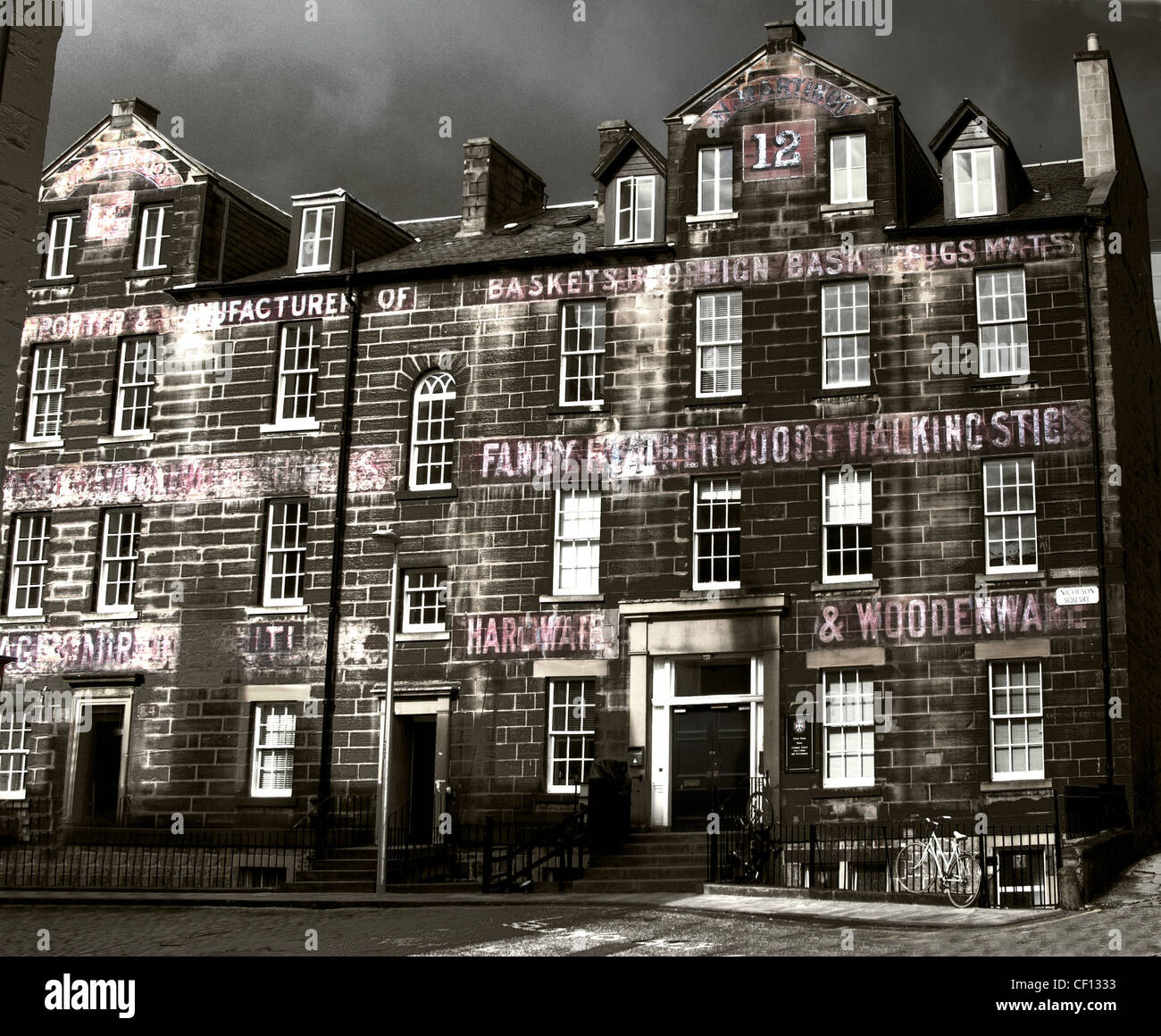 Old signwriting on university buildings at 12 Nicholson Square, Edinburgh City, Lothians, Scotland , UK - Stock Image