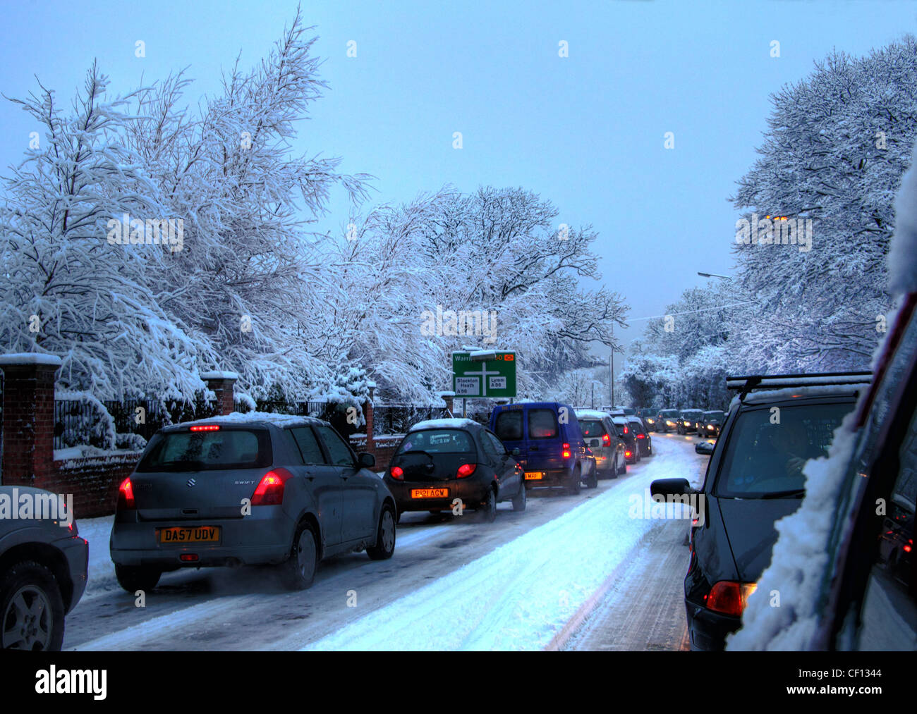 A50 traffic jam on A50 close to Grappenhall, Warrington, Cheshire, England UK - Stock Image