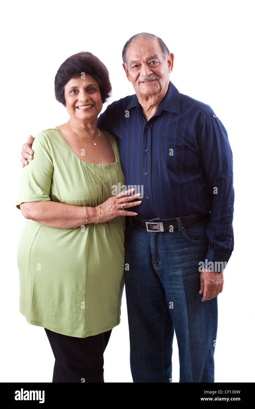 Portrait of a happy elderly East Indian couple - Stock Image