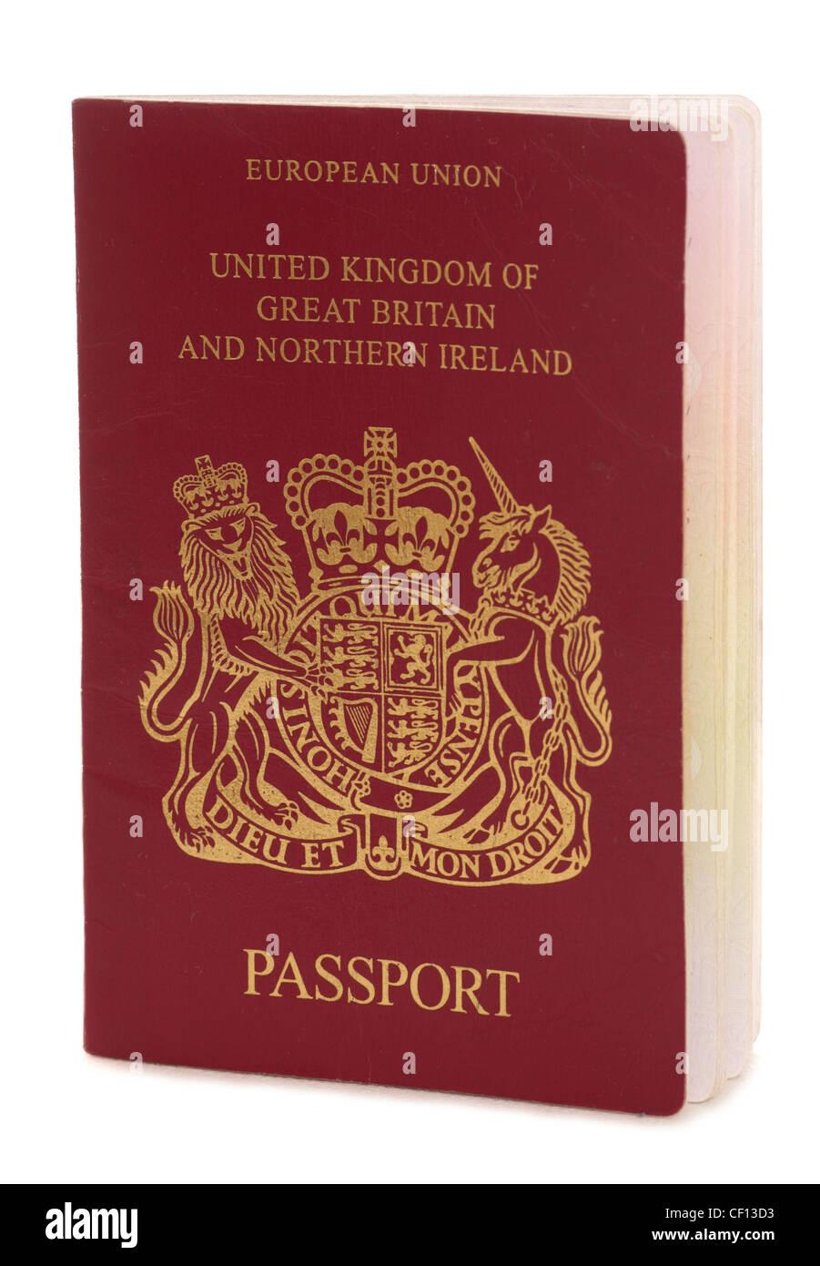 British passport on a white background - Stock Image