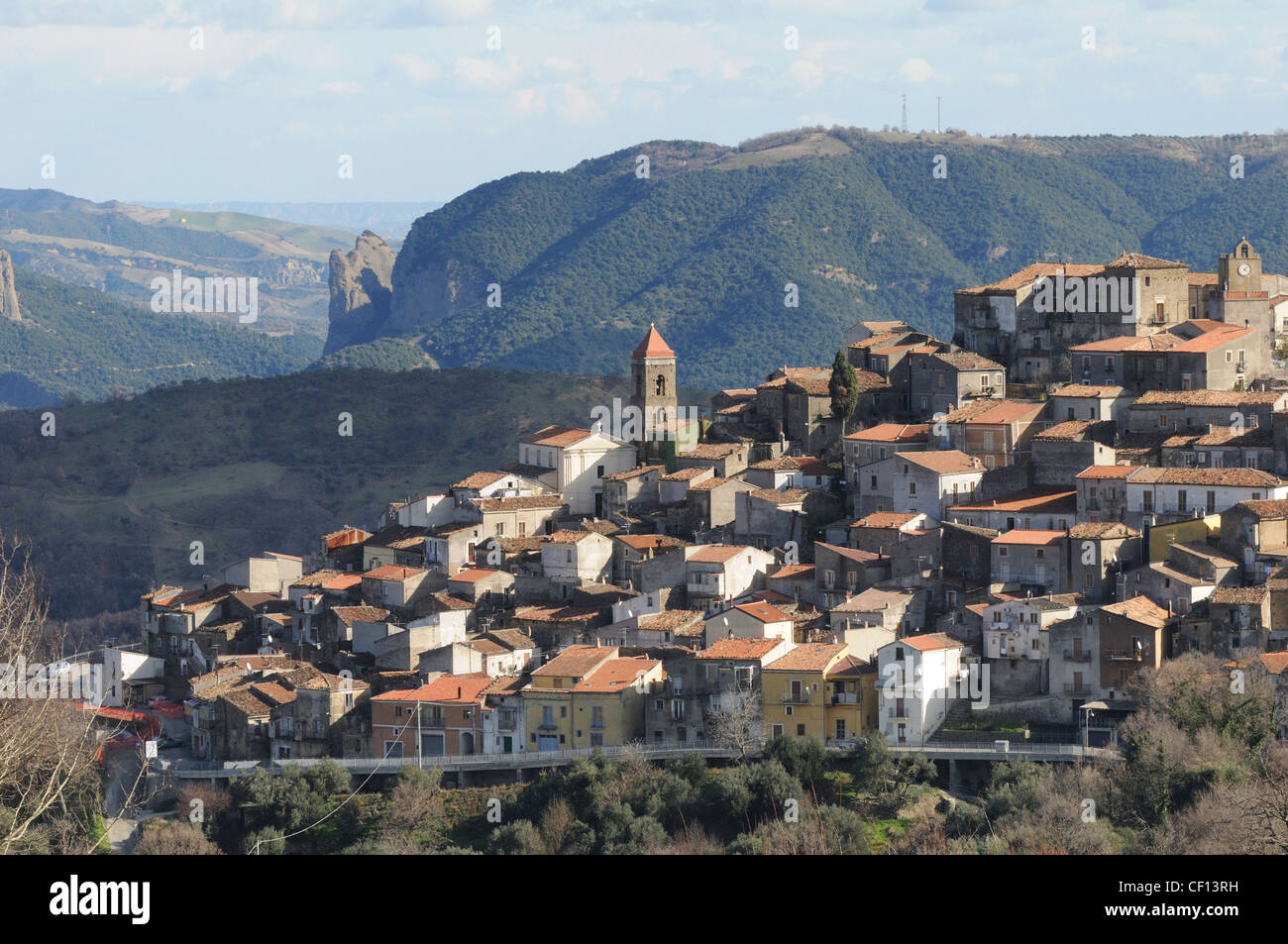 Landscape On The Mountain Village Of San Martino D Agri And The