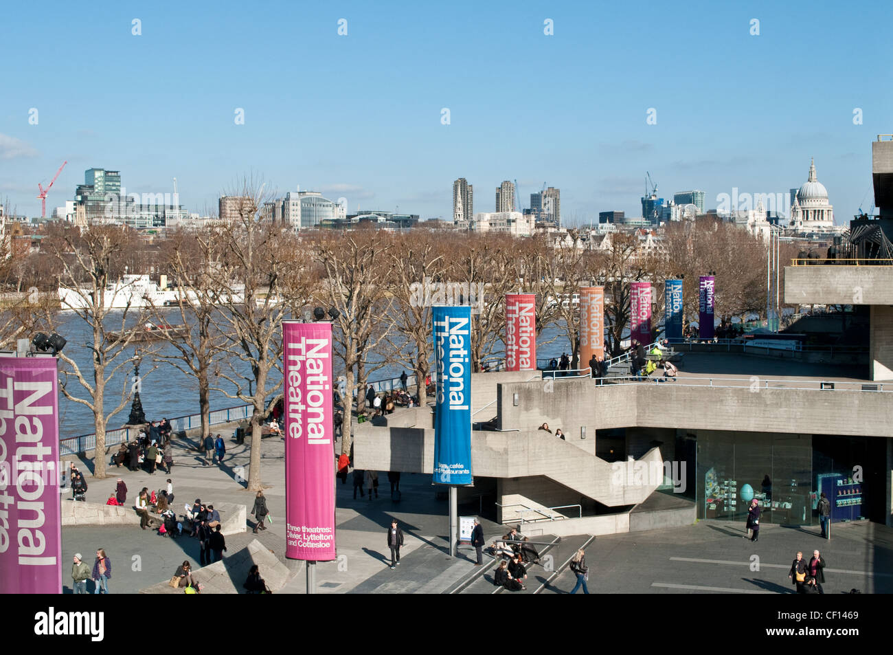 National Theatre banners, South Bank Centre, London, UK - Stock Image