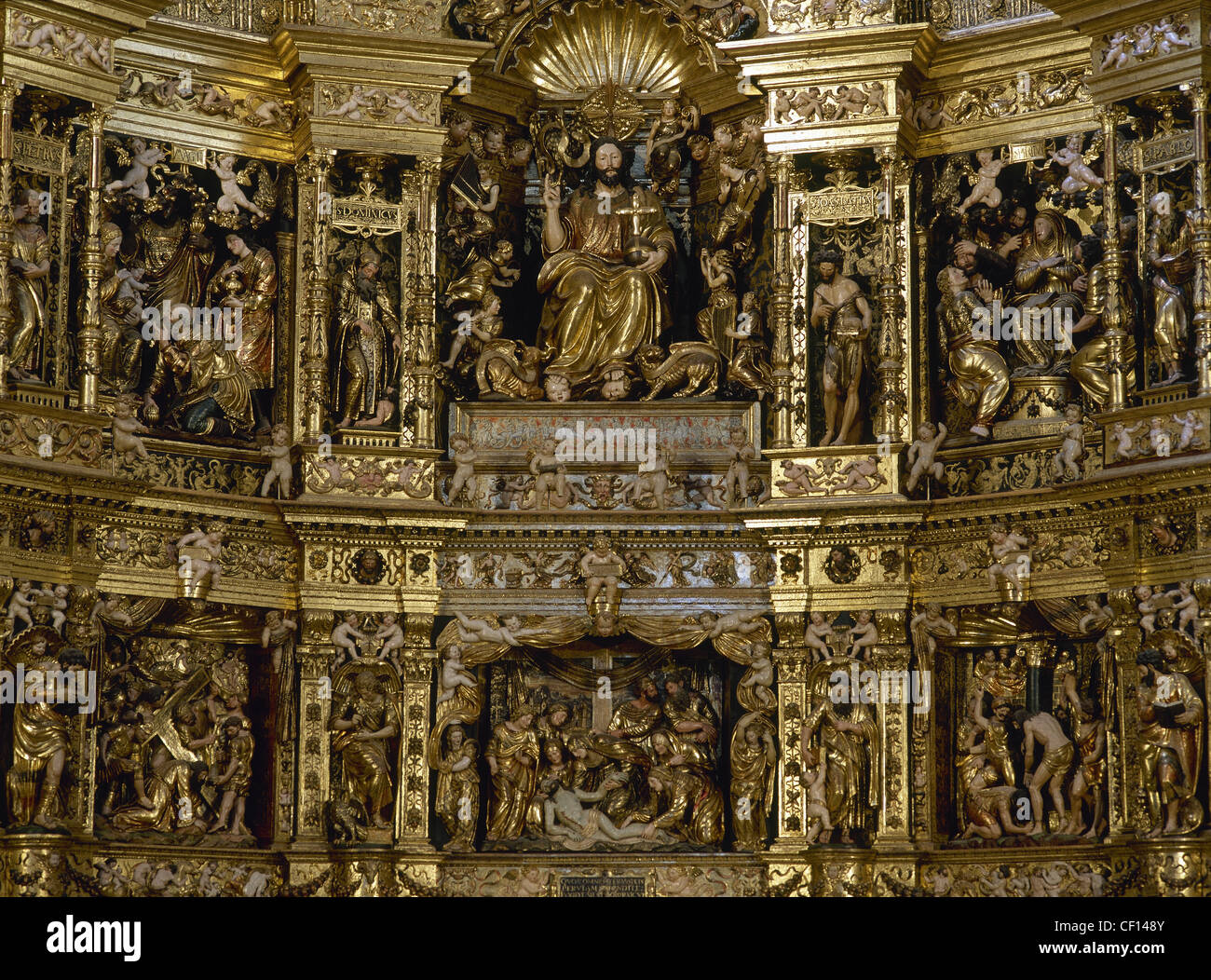 Spain. Cathedral of Saint Dominic of la Calzada. Altarpiece by Damia Forment. 1537 - 1539. Detail. - Stock Image