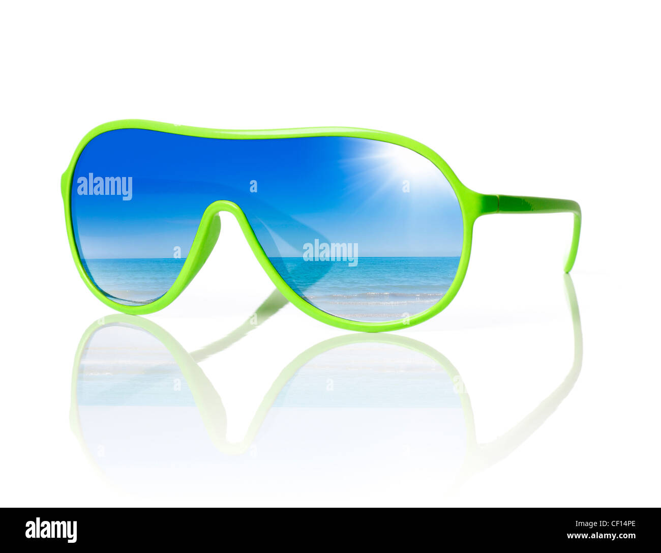 1980s styled cheap plastic sunglasses with reflection of the sea. - Stock Image