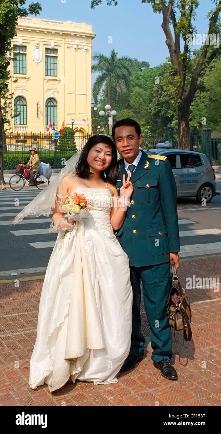 Bride and groom, North-Vietnamese soldier, serviceman, Vietnamese ...