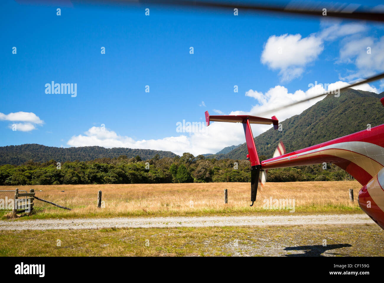 Detail of mountain helicopter and landscape in Fox Glacier, Southern Alps, South Island, New Zealand. - Stock Image