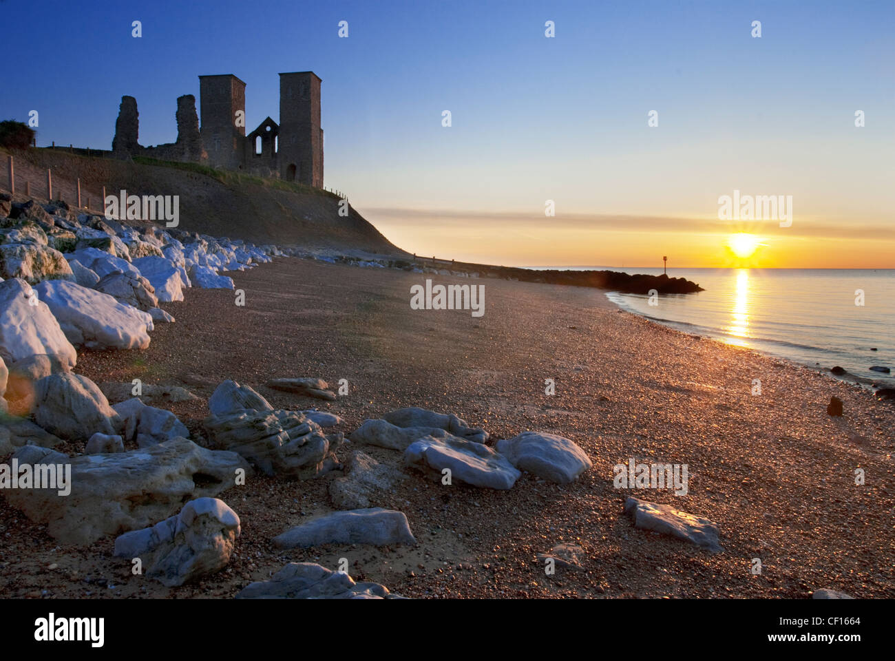 Sunset at the Reculver Towers in Kent Stock Photo