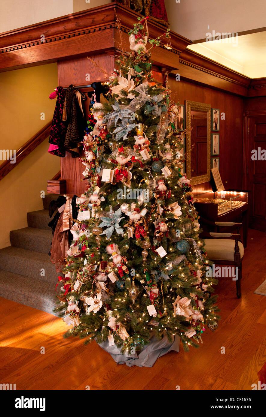 DECORATED CHRISTMAS TREE,USA - Stock Image
