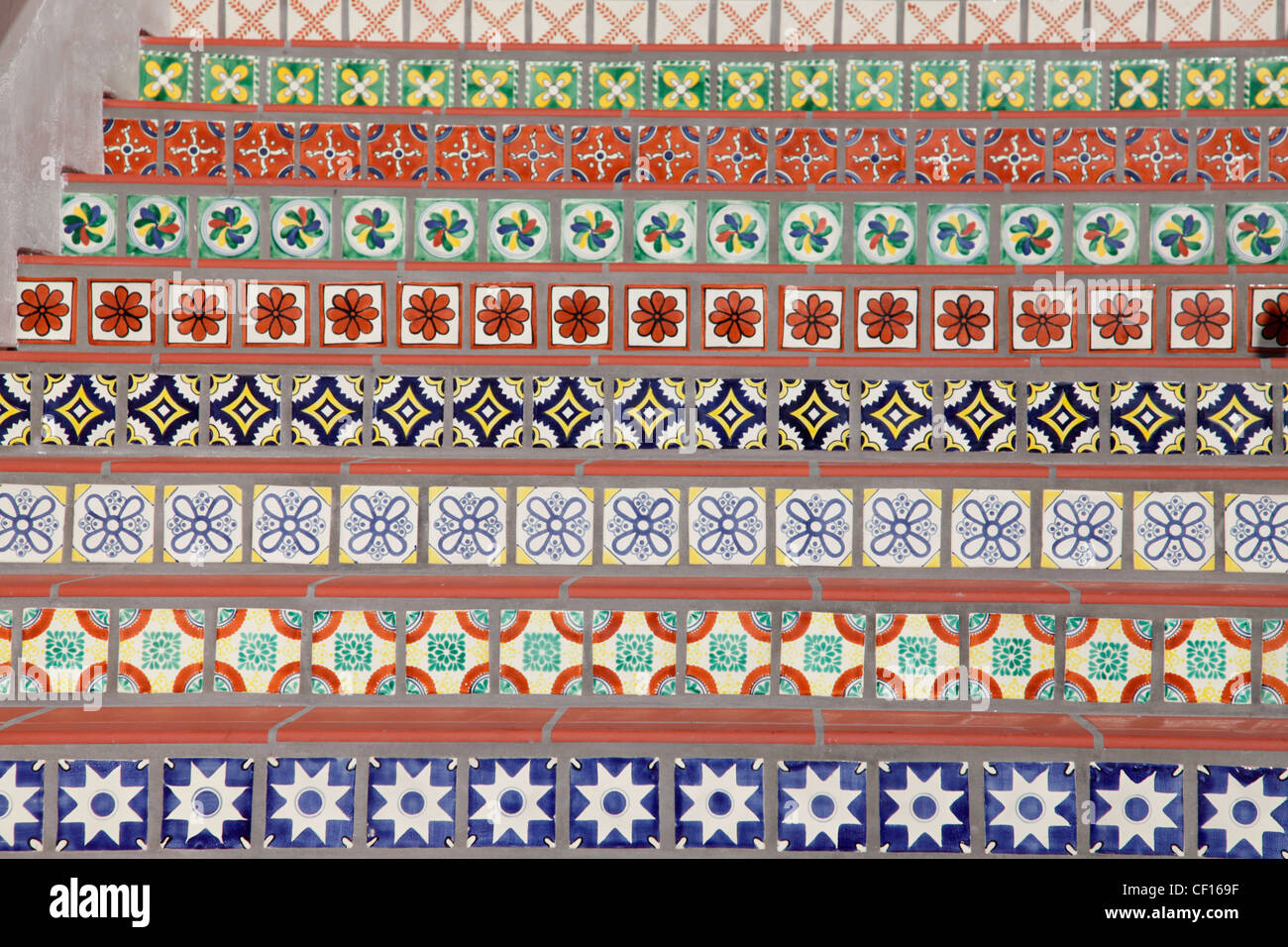 DECORATED SPANISH STYLE TILED STEPS Stock Photo