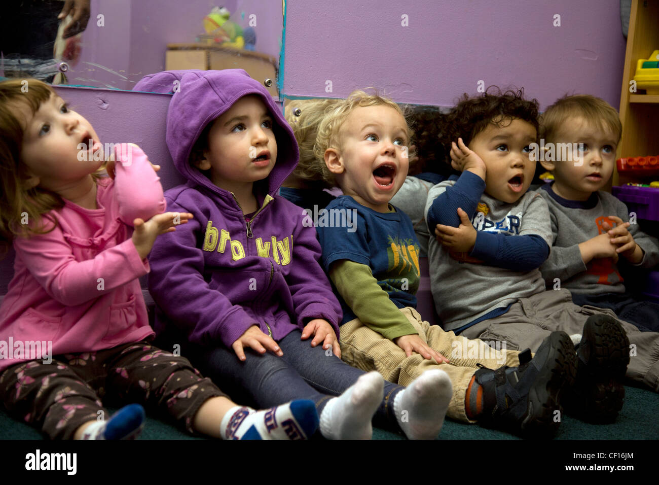 Kids Are Us Nursery school/early learning center in the highly multicultural Kensington neighborhood of Brooklyn, Stock Photo