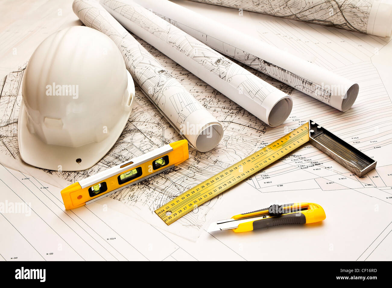 architecture blue plans and work tool - Stock Image