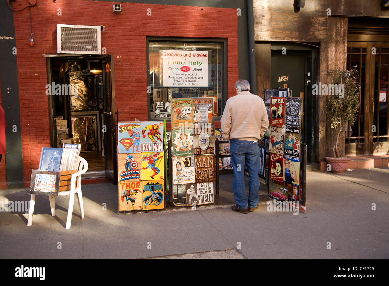 Movie posters and other collectibles, Little Italy, NYC. - Stock Image