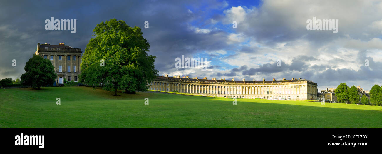 A panoramic view of the Royal Crescent in Bath - Stock Image