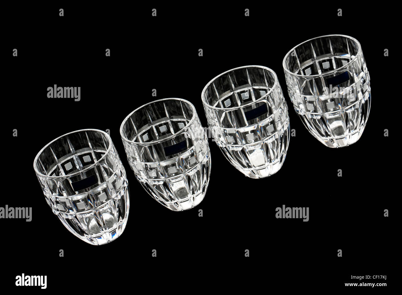 Set of Waterford Lead Crystal 'Marquis' Quadrata whisky glasses (2007) - Stock Image
