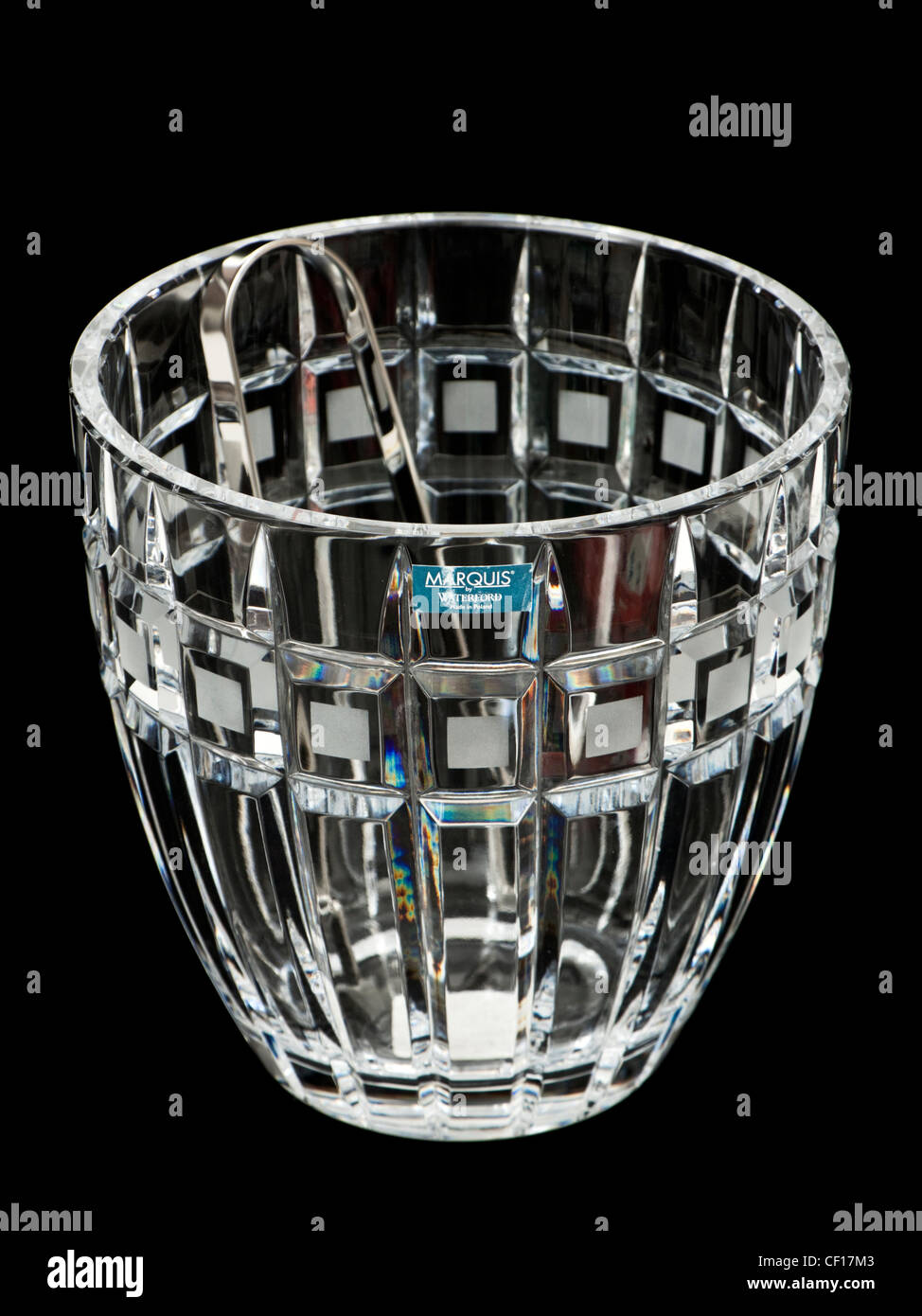 Waterford Lead Crystal 'Marquis' Quadrata ice bucket with tongs (2007) - Stock Image
