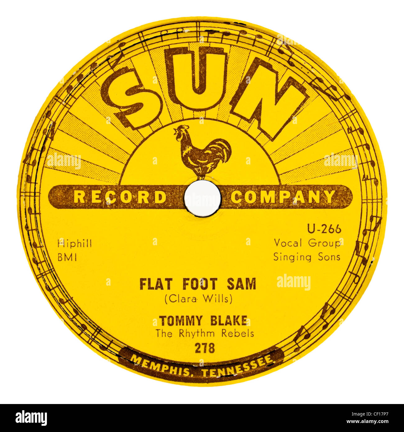 Rare 78rpm 1957 Sun record label ( No 278) - Tommy Blake with The Rhythm Rebels 'Flat Foot Sam' (Rockabilly) - Stock Image