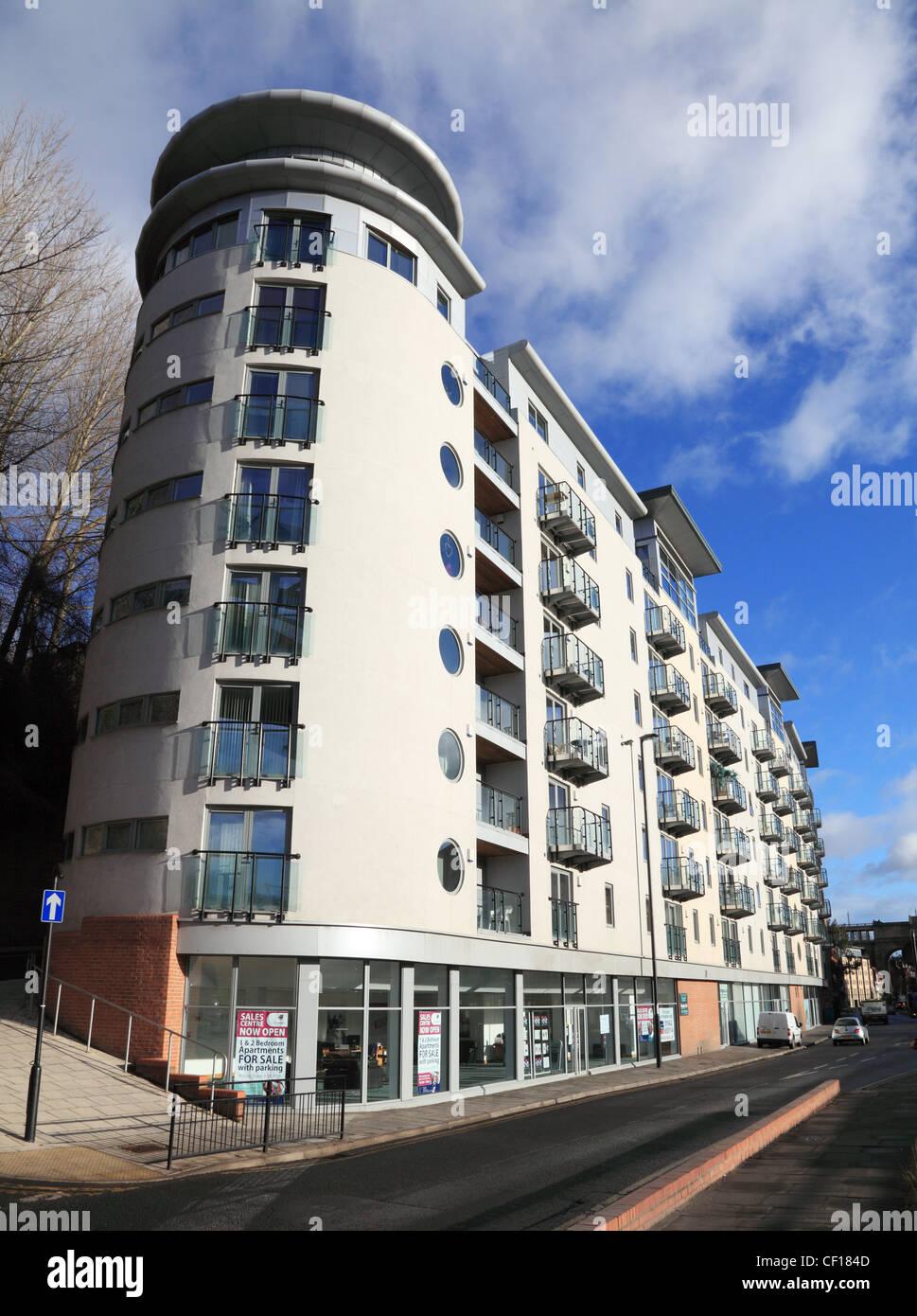 Modern block of flats newastle upon tyne quayside england uk stock image