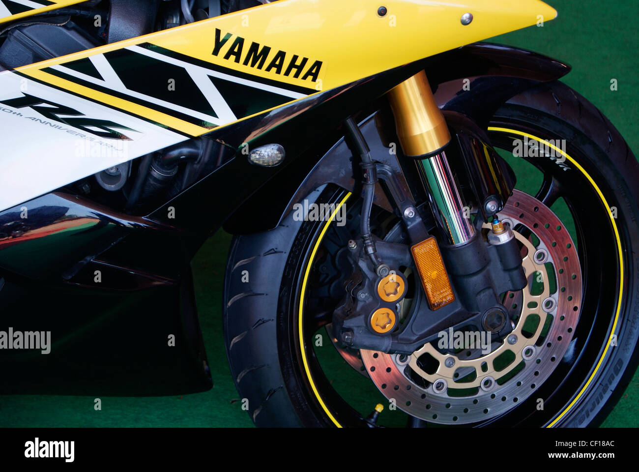 Closeup front side View of Stylish Yamaha R6 Racing bike - Stock Image