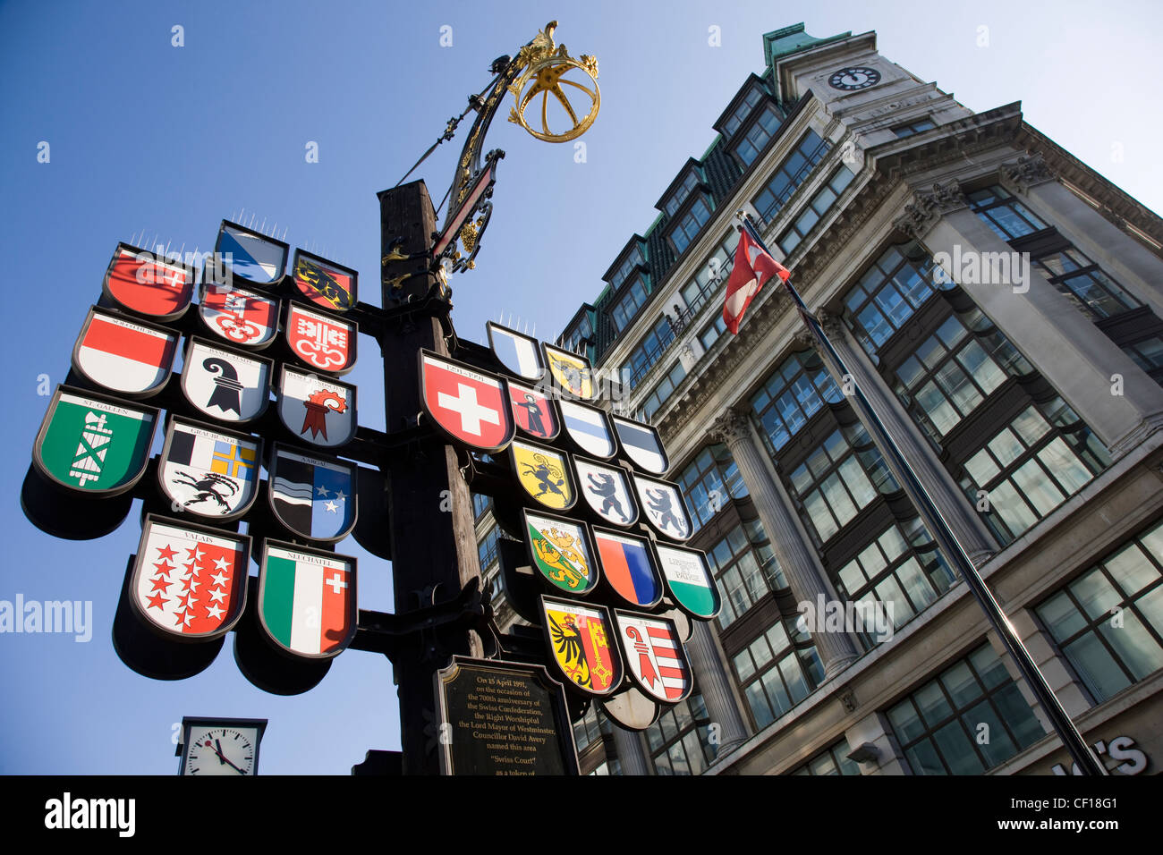 Cantonal tree of Swiss cantons at Swiss Court, Leicester Square, London Stock Photo