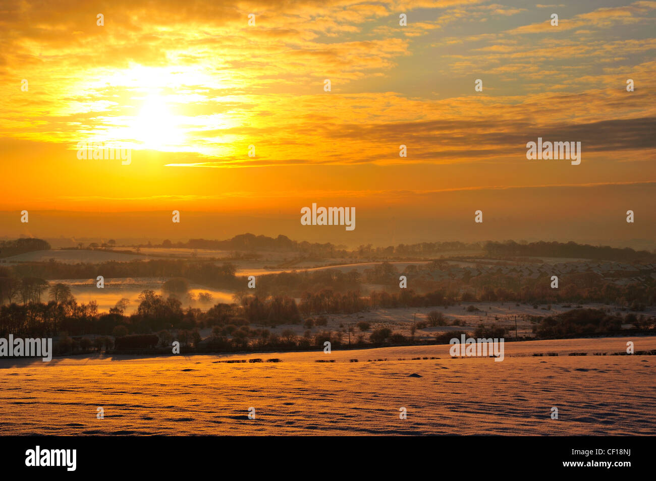 Sunset photograph of the Clyde Valley photographed from Airdrie looking towards Motherwell in the middle of a very Stock Photo