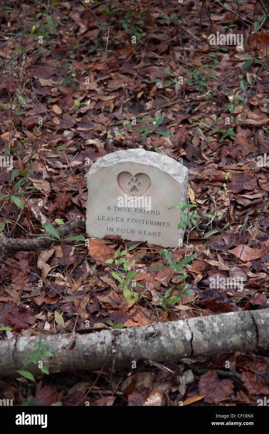 gravestone marking the burial of family pets North Florida Stock Photo