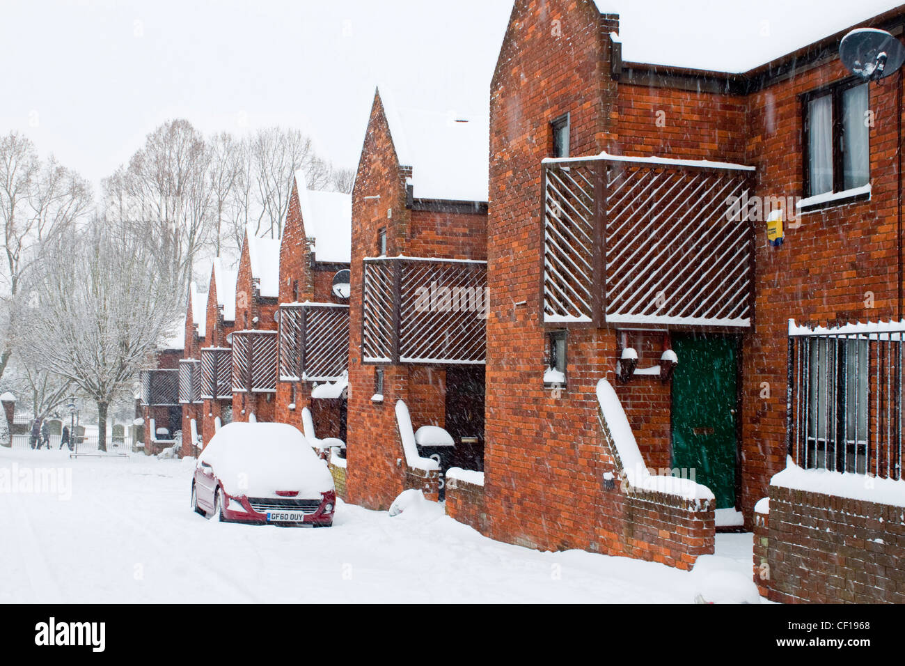 Canterbury UK Gas Street Snow covered street winter scene Stock Photo